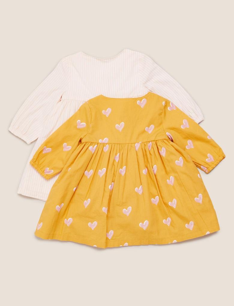 Bebek Sarı 2'li Desenli Elbise Seti