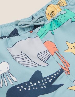 Bebek Mavi Deniz Altı Baskılı Şort