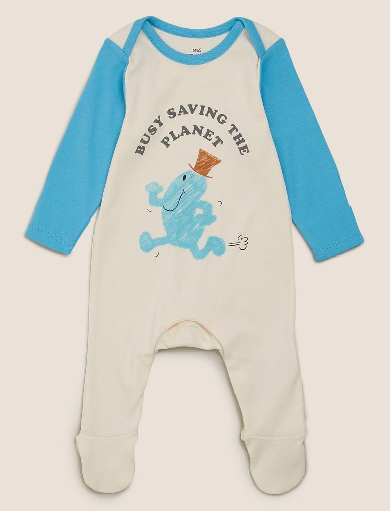 Bebek Krem 2'li Mr.Men Baskılı Tulum