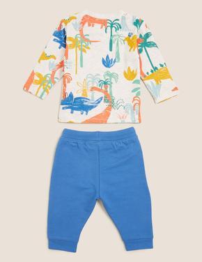 Bebek Mavi Palmiye Baskılı Takım