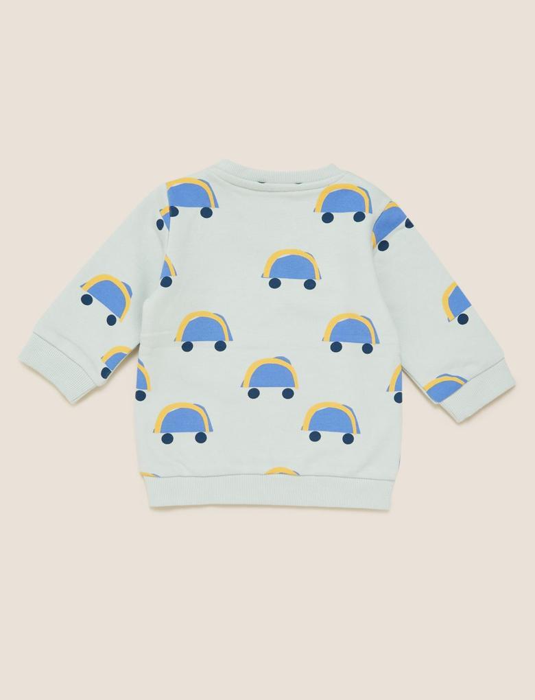 Bebek Mavi Araba Baskılı T-Shirt