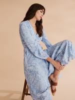 Kadın Mavi Desenli Anvelop Elbise