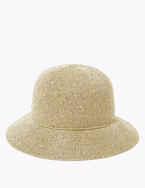 Kadın Krem Hasır Fötr Şapka