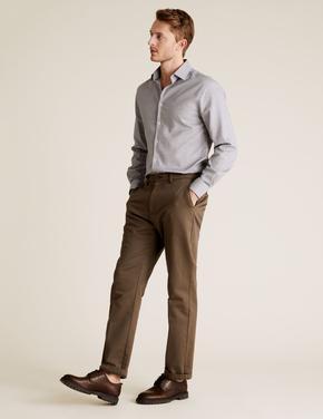 Erkek Gri Saf Pamuklu Tailored Fit Pure Gömlek