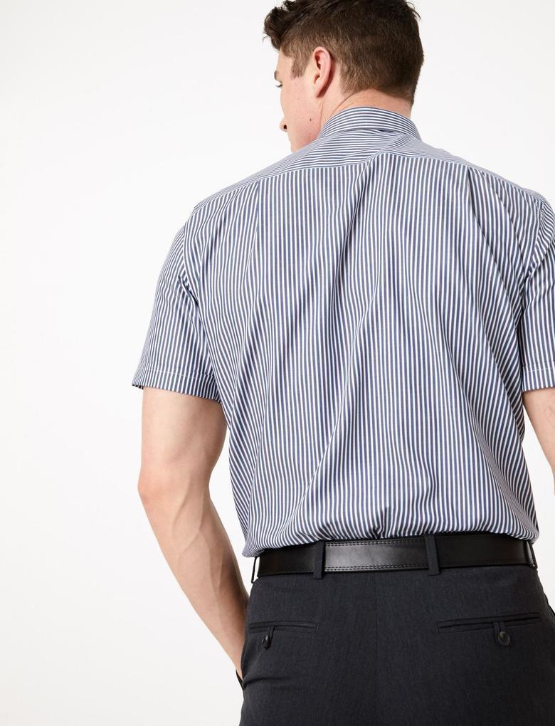 Erkek Lacivert Pamuklu Regular Fit Çizgili Gömlek