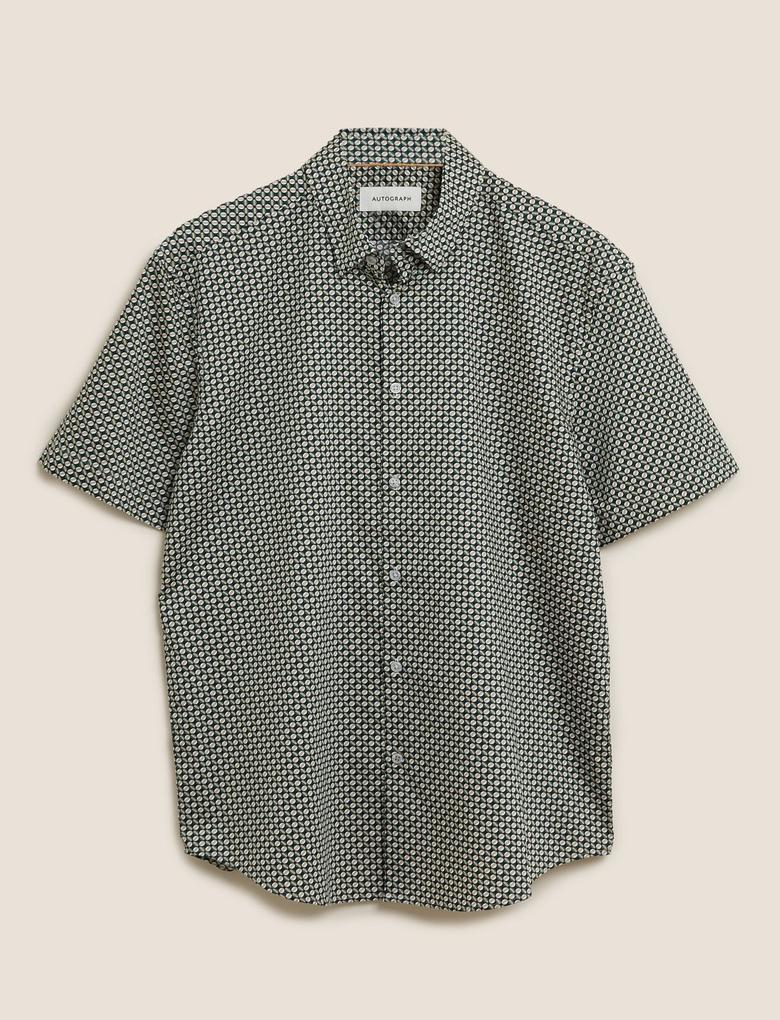 Erkek Siyah Pamuklu Geometrik Desenli Gömlek