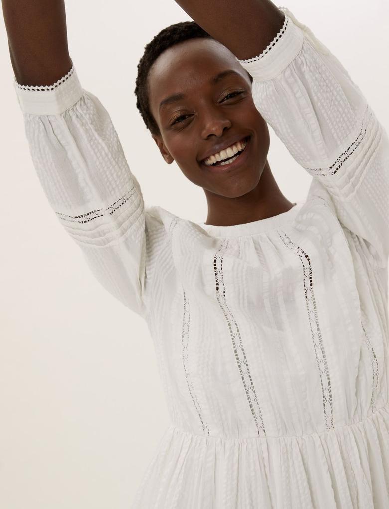 Kadın Beyaz Pamuklu Dantel Detaylı Elbise