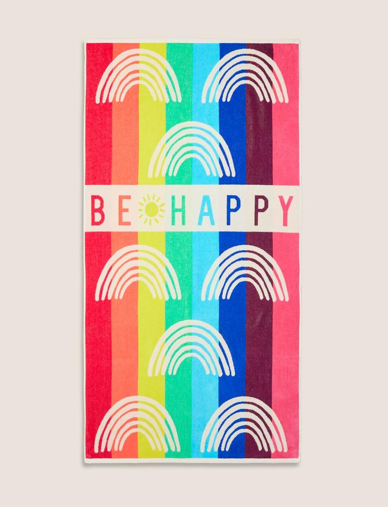 Ev Multi Renk Be Happy Baskılı Plaj Havlusu