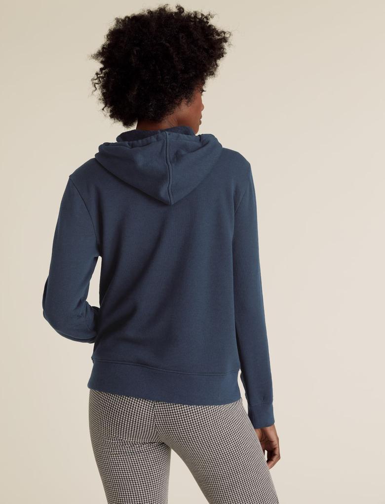 Kadın Lacivert Uzun Kollu Kapüşonlu Sweatshirt