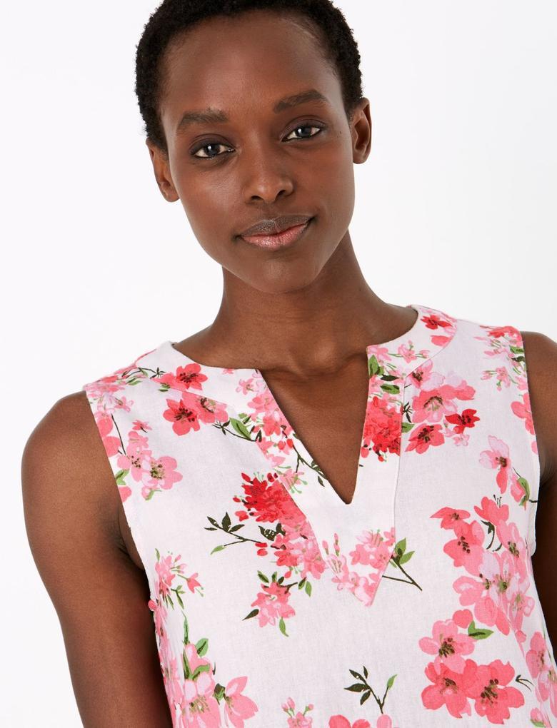 Kadın Beyaz Çiçek Desenli Keten Elbise