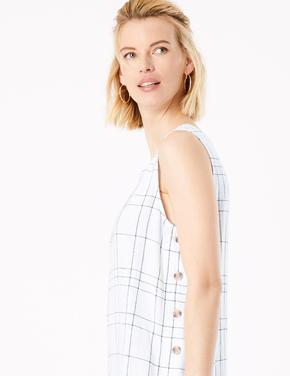 Kadın Beyaz Keten Midi Elbise