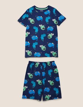 Çocuk Lacivert Balık Desenli Pijama Takımı