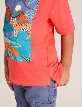 Erkek Çocuk Kırmızı Baskılı T-Shirt Takım