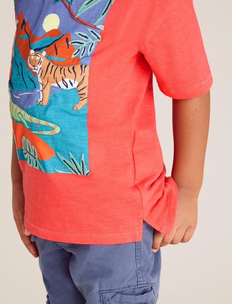 Erkek Çocuk Kırmızı Baskl Ksa Kollu T-Shirt