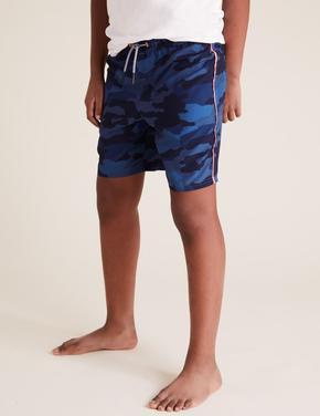 Erkek Çocuk Mavi Desenli Deniz Şortu