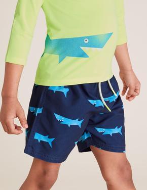 Erkek Çocuk Mavi Köpek Balığı Desenli Mayo Seti