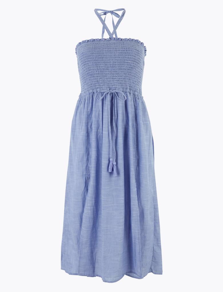 Kadın Mavi Büzgülü Midi Plaj Elbisesi