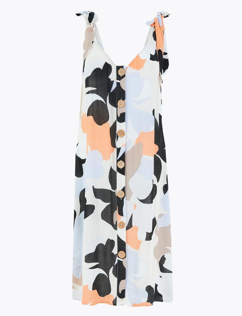 Kadın Turuncu Çiçek Desenli Midi Elbise