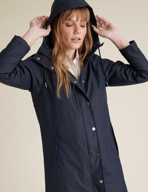 Kadın Lacivert Kapüşonlu Yağmurluk
