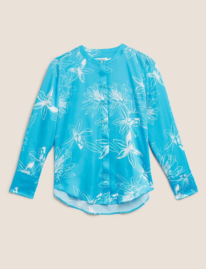 Mavi Çiçek Desenli Bluz