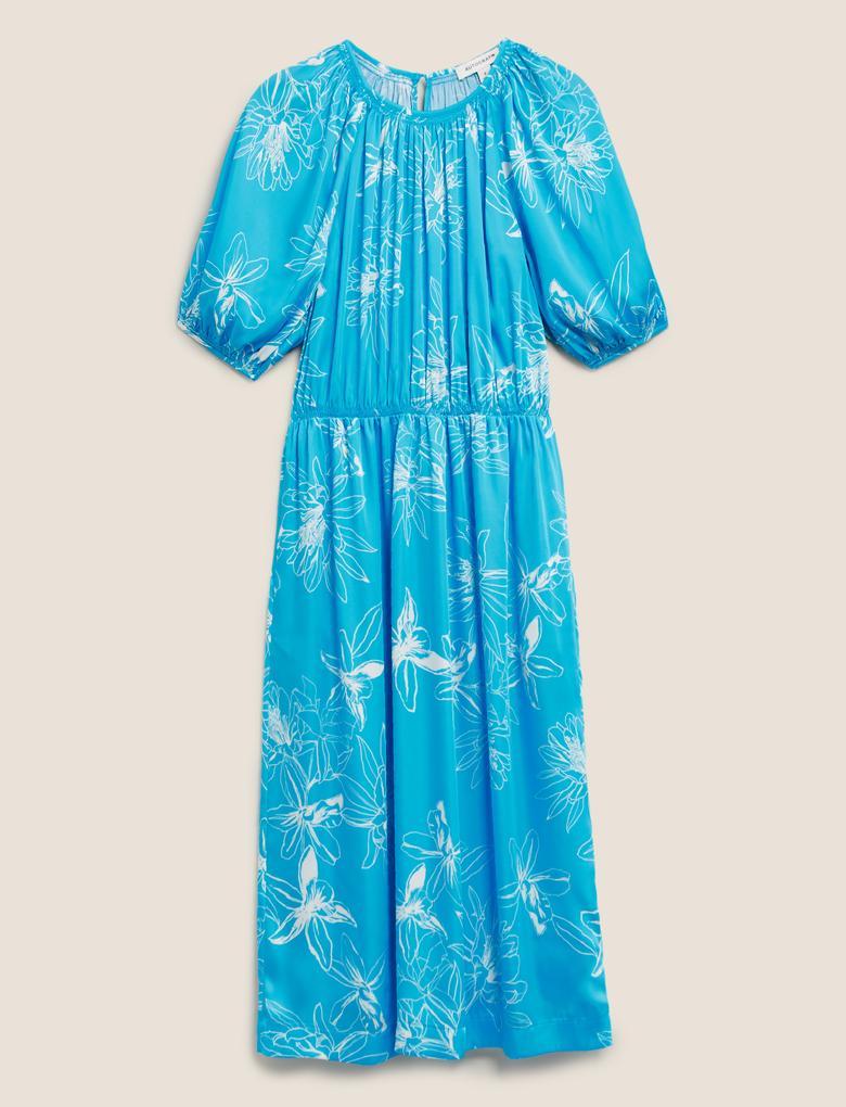 Kadın Mavi Çiçek Desenli Elbise