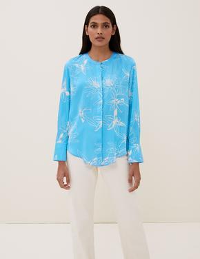 Kadın Mavi Çiçek Desenli Bluz