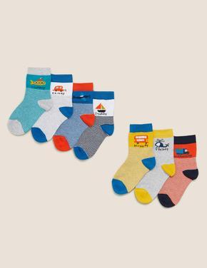 Çocuk Multi Renk 7'li Haftanın Günleri Desenli Çorap