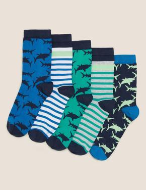 Çocuk Multi Renk 5'li Köpekbalığı Desenli Çorap