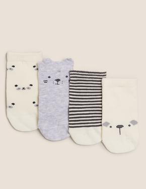Çocuk Gri 4'lü Desenli Çorap Seti