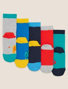 Çocuk Multi Renk 5'li Hayvan Desenli Çorap