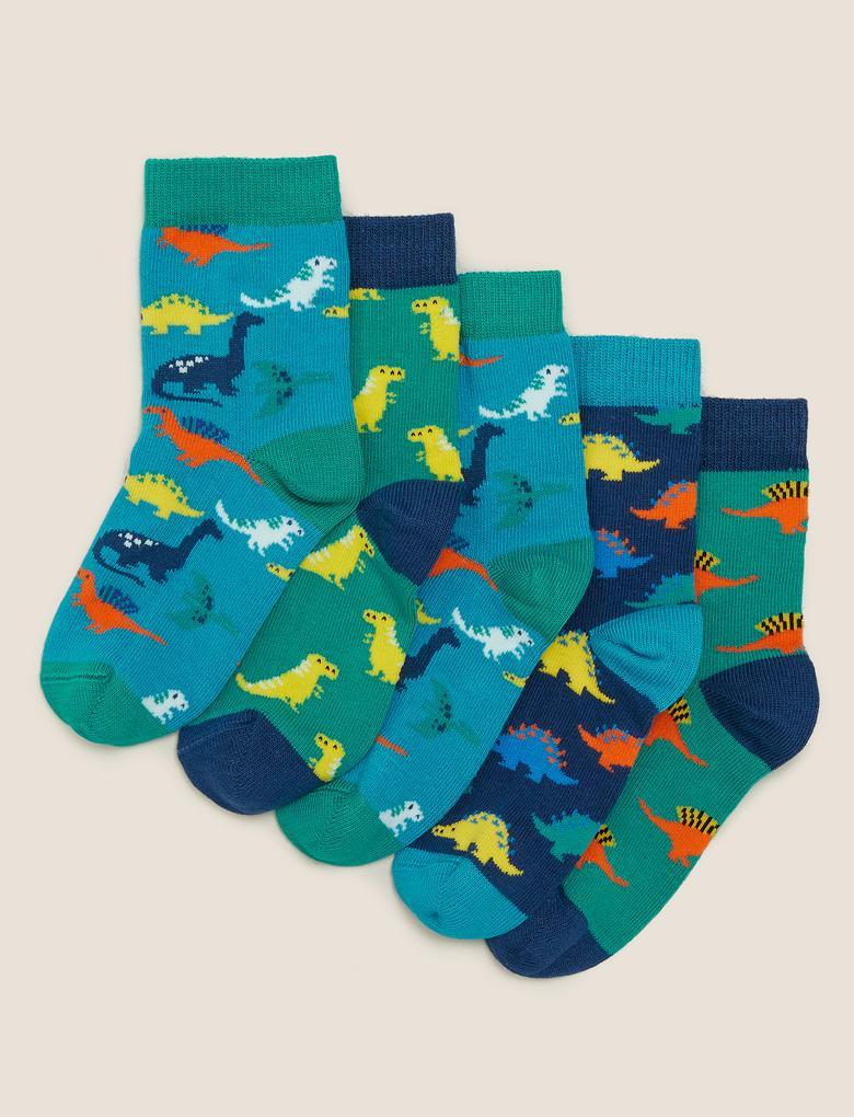 Çocuk Multi Renk 5'li Dinozor Çorap Seti
