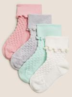 Çocuk Multi Renk 4'lü Fırfırlı Bebek Çorap (0-24 Ay)