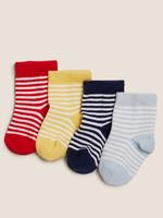 Çocuk Multi Renk 4'lü Çizgili Çorap Seti