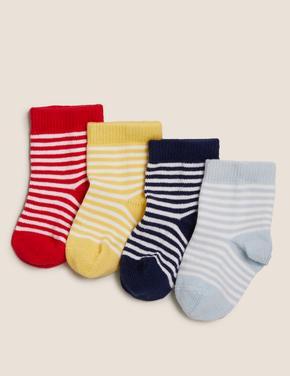 Çocuk Multi Renk 4'lü Çizgili Bebek Çorap (0-24 Ay)
