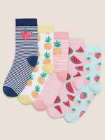 Çocuk Multi Renk 5'li Meyve Desenli Çorap Seti