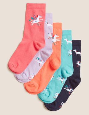 Çocuk Multi Renk 5'li Unicorn Baskılı Çorap Seti