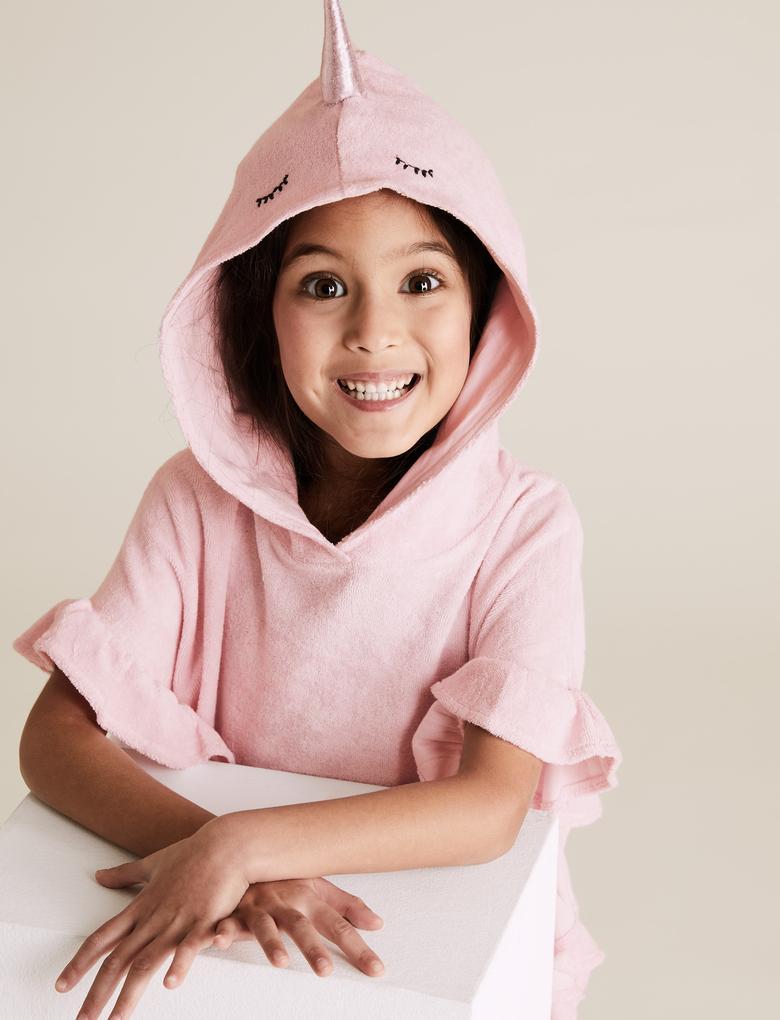 Kız Çocuk Pembe Unicorn Desenli Panço