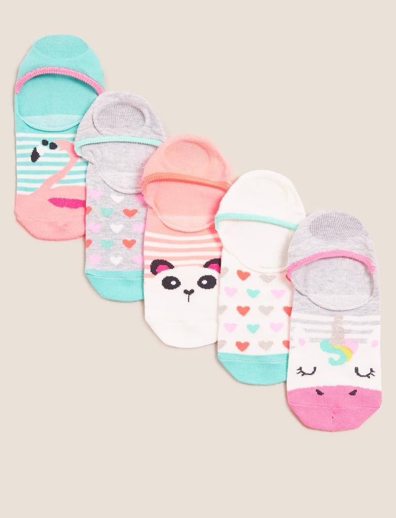 Çocuk Multi Renk 5'li Unicorn Desenli Çorap Seti