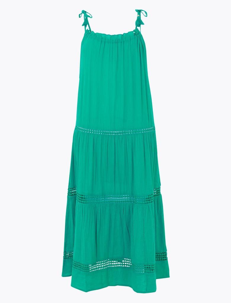 Kadın Mavi İnce Askılı Midi Plaj Elbise