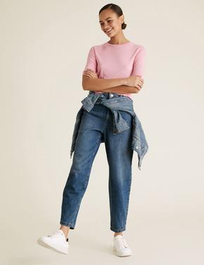 Kadın Lacivert Yüksek Belli Wide Leg Jean Pantolon