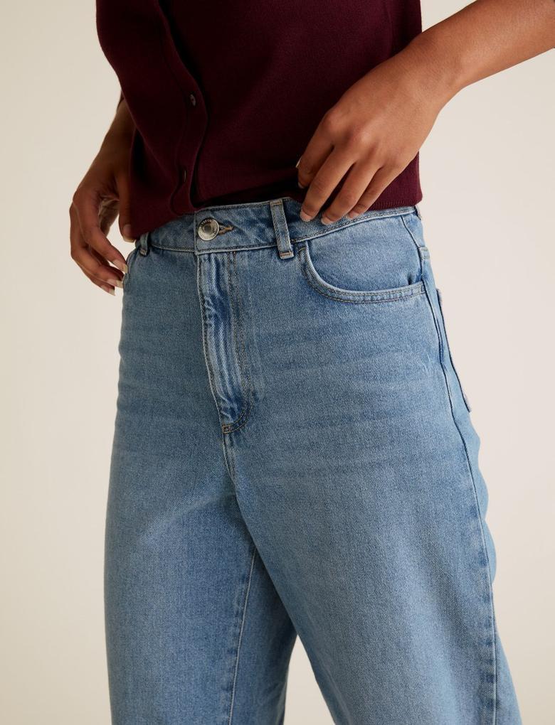 Kadın Mavi Yüksek Belli Wide Leg Jean Pantolon