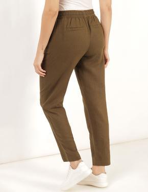 Kadın Yeşil Keten Tapered Pantolon
