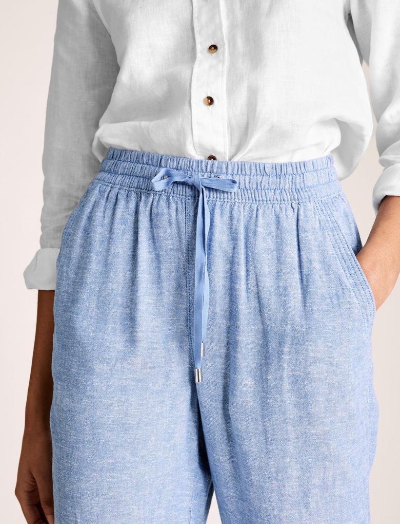 Kadın Mavi Keten Tapered Pantolon