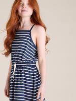 Kız Çocuk Lacivert İnce Askılı Çizgili Elbise