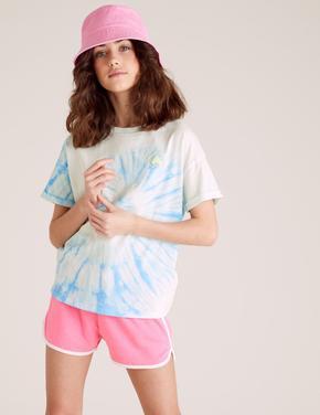 Kız Çocuk Mavi Tie-Dye Baskılı T-Shirt