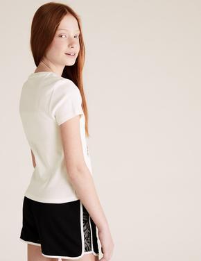 Kız Çocuk Beyaz Fotoğraf Baskılı T-Shirt
