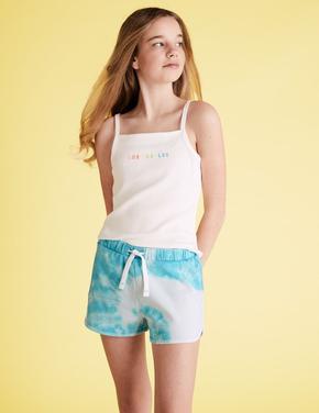 Kız Çocuk Mavi Tie-Dye Basklı  Şort