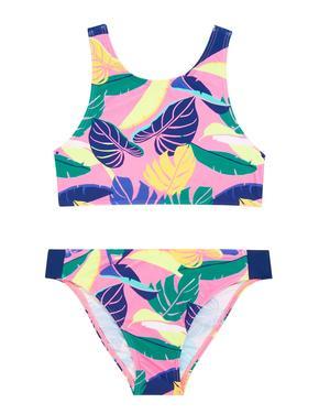 Kız Çocuk Siyah Tropical Desenli Bikini Seti