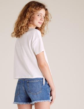 Kız Çocuk Beyaz Çiçek Baskılı T-Shirt