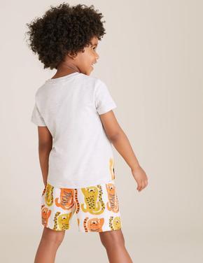 Çocuk Turuncu Tiger Deseli Pijama Takımı
